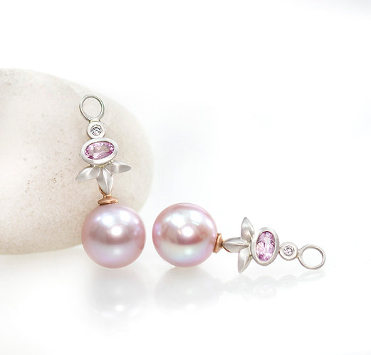 pink pearl, morganite and diamond triple leaf drops in platinum and rose