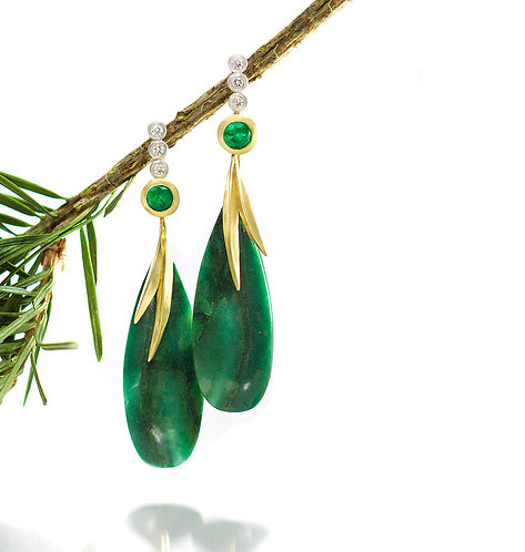 emerald and diamond tops with African jade beach grass drops