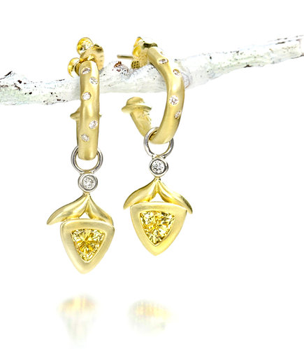 yellow sapphire and diamond winged leaf drops on 18kt soft square hoops