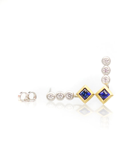 princess blue sapphire and triple diamond earrings in platinum and 18kt