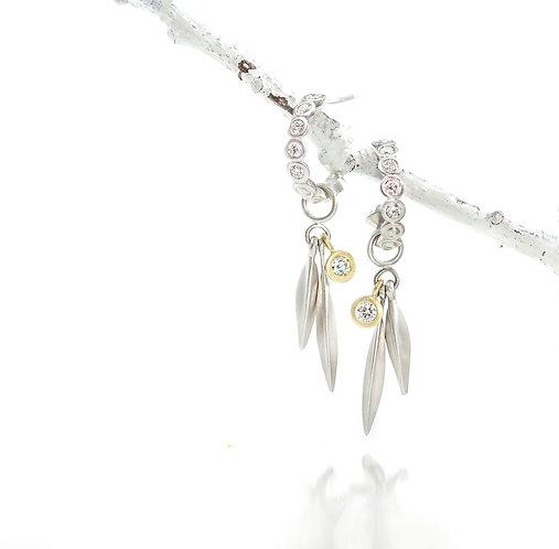 platinum bezel hoops with double beach grass diamond drops