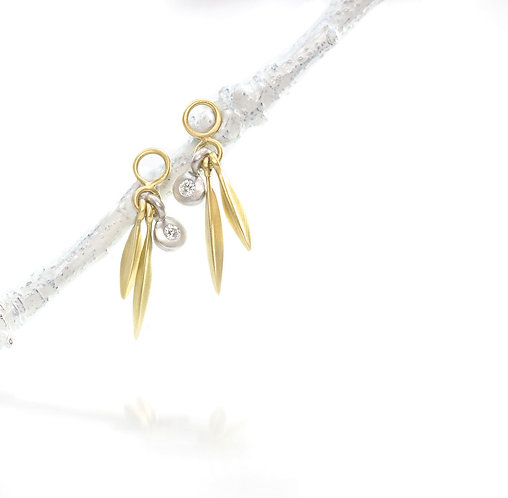 18kt double beach grass drops with single diamond in platinum (made to order)