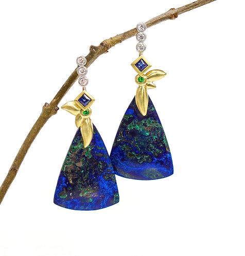 azurite leaf drops with tsavorites in sapphire triple diamond tops