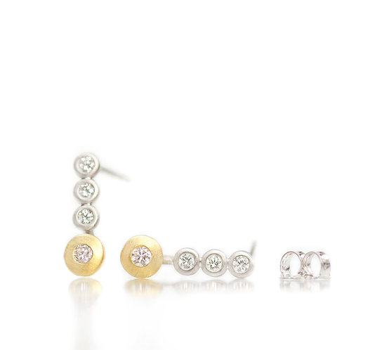 platinum triple diamond studs with 18kt diamond pebbles
