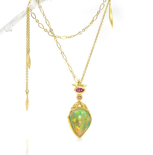 Ethiopian opal pendant on mixed link beachgrass blade chain