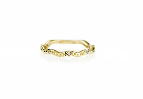 wavy beaded diamond band in 18kt yellow (made to order)
