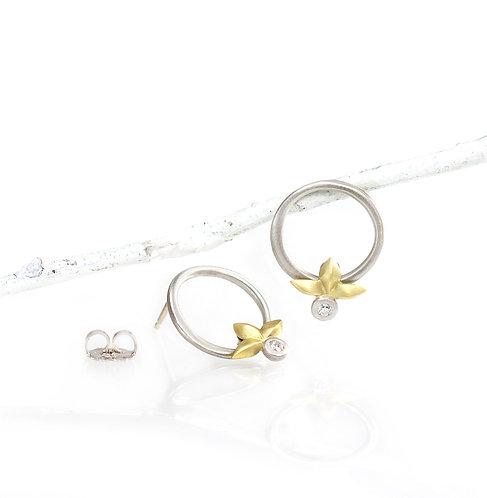 palladium and 18kt triple leaf diamond dangle circle earrings