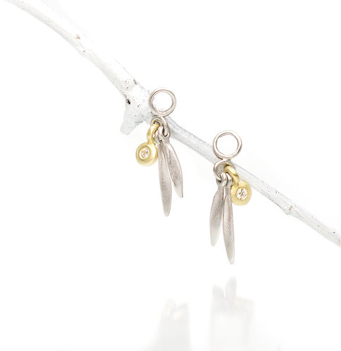 platinum and 18kt small beach grass drops with diamonds