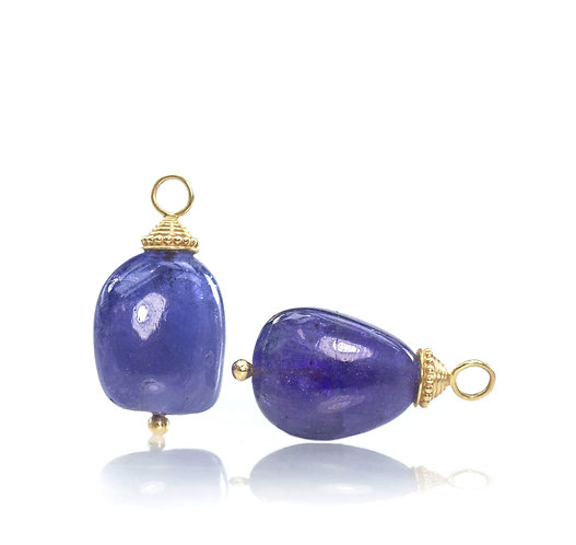 tanzanite pebble bead drops with 14kt ripple beaded caps