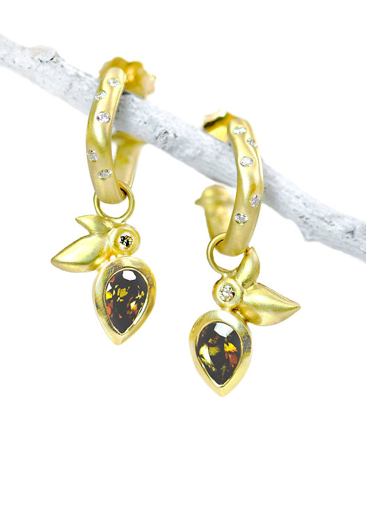 andalusite and champagne diamond leaf drops on soft square hoops