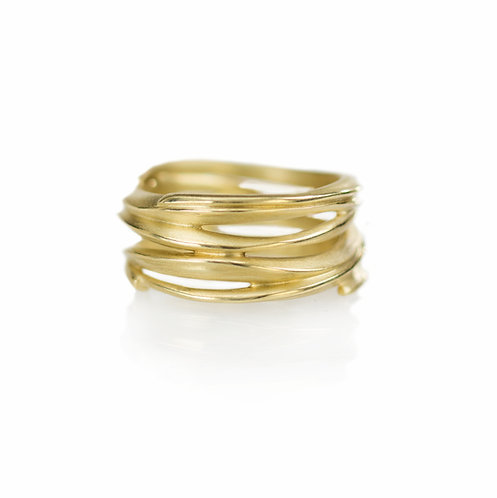 18kt wrapped beach grass band