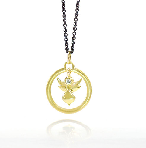 18kt angel halo pendant with single diamond~for order