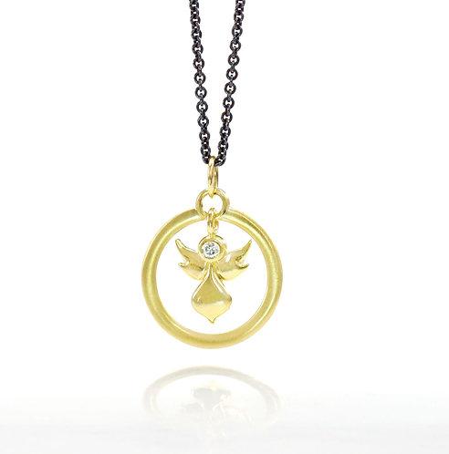 18kt angel halo pendant with single diamond