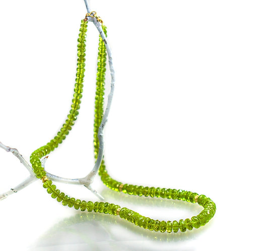 peridot necklace with 18kt ripple wave beads