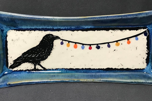 Small plate: Raven bringing the light (blue)
