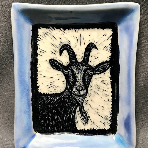 Small plate: Got your goat (blue)