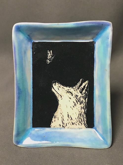 Small plate: Fox and butterfly (rectangle)