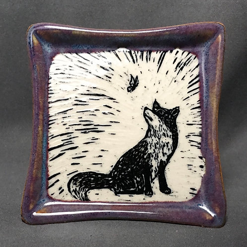 Small plate: Fox and the butterfly (square)
