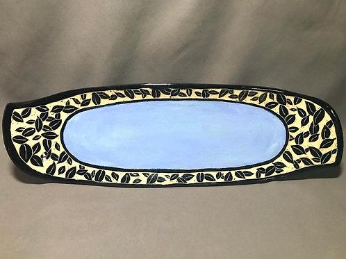 Sky blue leaf platter