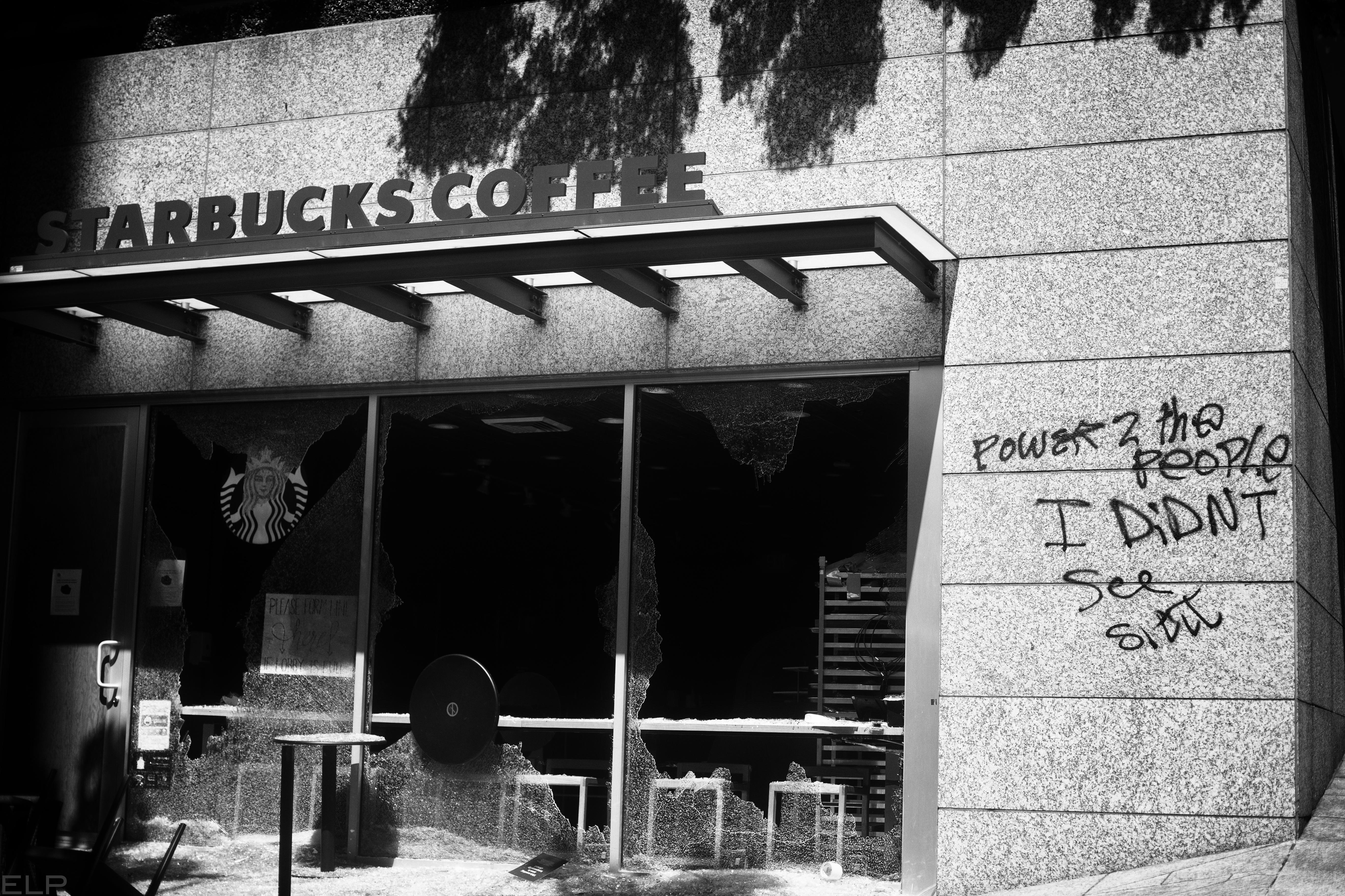 Starbucks broken storefront