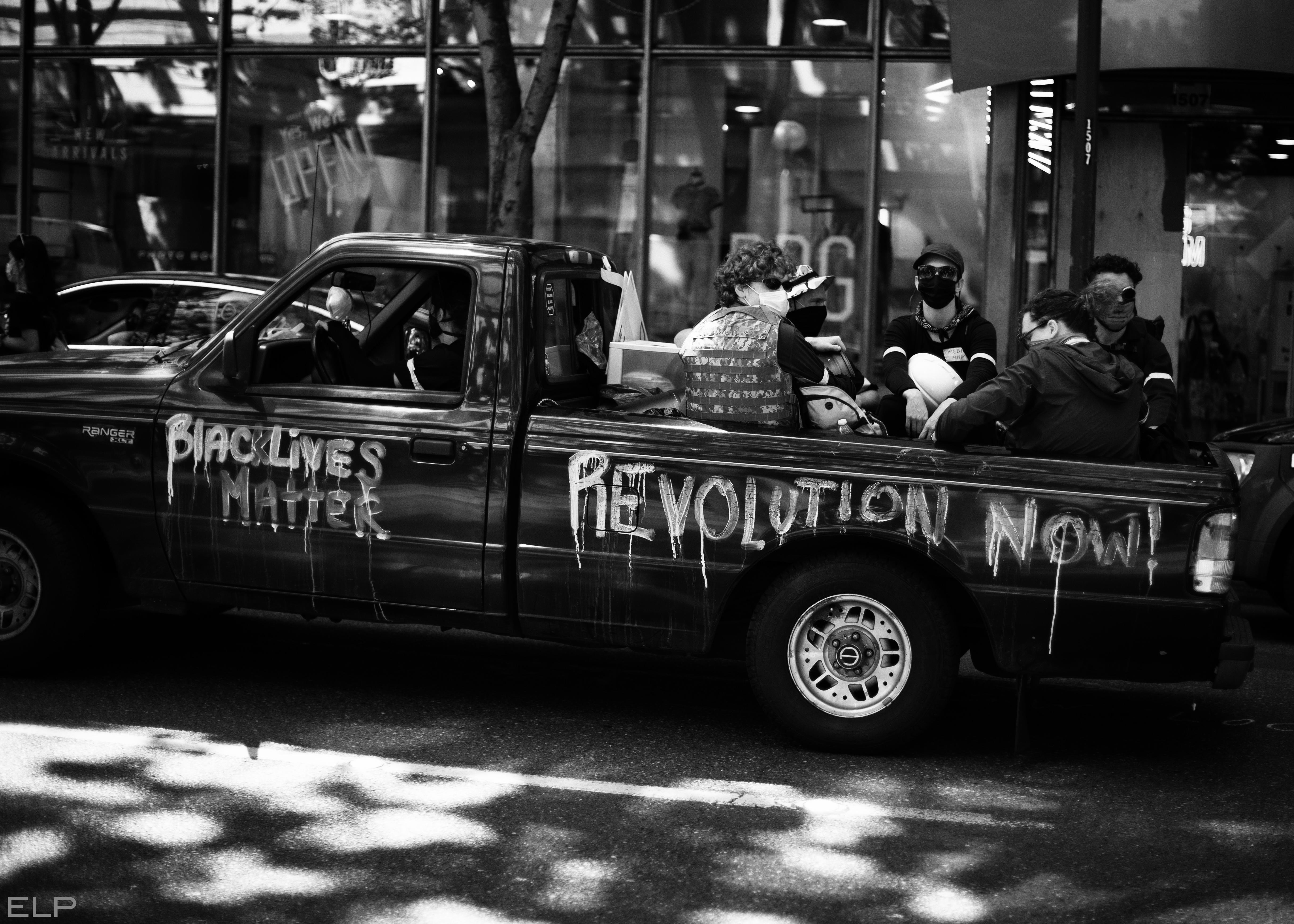 anti-ICE march Revolution Now truck of volunteer medics