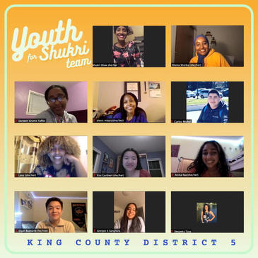 Shukri connects with her amazing team of youth leaders at YouthforShukri Campaign meeting.
