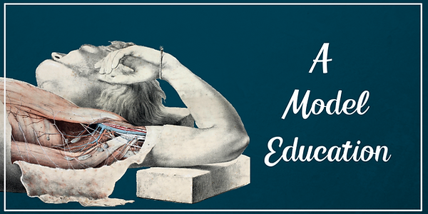 "A graphic with a dark blue background and white text reading ""A Model Education"". On the left there is an image of a person being dissected. Their side has been opened to reveal the muscles and blood vessels underneath."