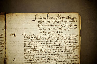 A close view of a manuscript, a charter granted to the college in Glasgow in 1599.