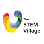 """The STEM Village logo. A round V coloured in the progress pride flag colours. To the right is text saying """"The STEM Village""""."""