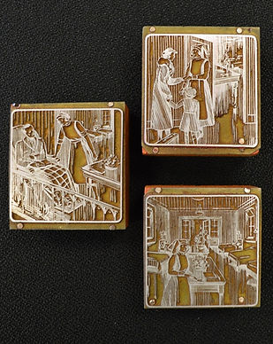 Three engraved stamps show different scenes of nurses. In one, a nurse greets a woman and a child. In the second, a nurse is talking to a man in a wheelchair. In the third, a nurse is standing by a table in a ward.