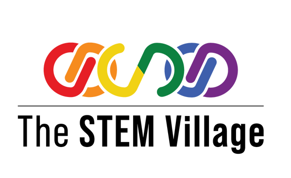 The STEM Village logo. There is a series of links in rainbow colours with the name underneath.