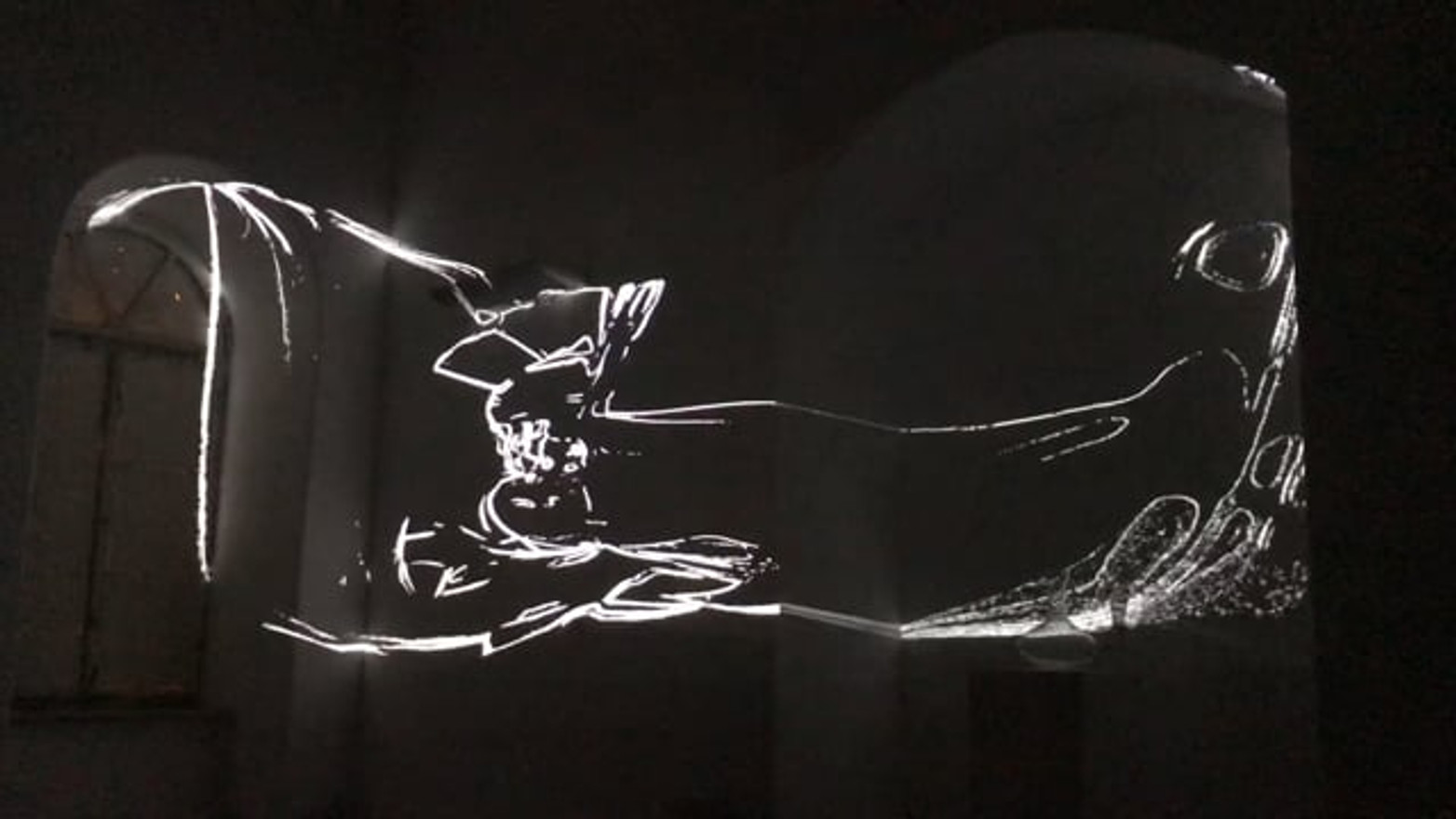 """In\Feeling"" projected and mapped in Beit Hansen, Jerusalem."
