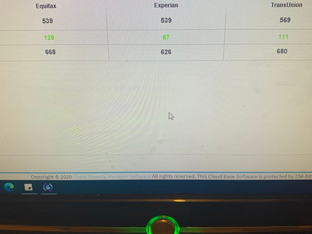 1st Round of Credit Repair with 129 point increase