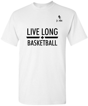 Classic White Jr. NBA Live Long Basketball Tee