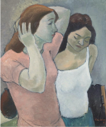 Joël Räsänen / Two Women, 1941. Oil on canvas, 53 X 61 cm.