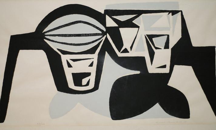 Bertil Berntsson / Aquatin on paper, 1955. 50 X 65 cm.