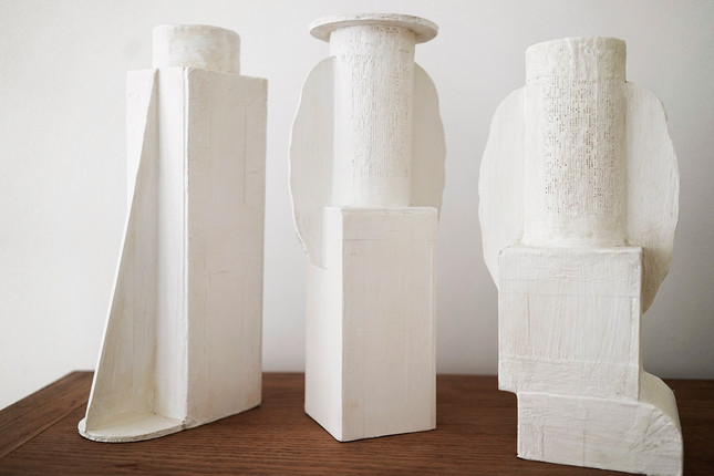 Three vases / N°12, N°13, N°14. Cardboard prototypes