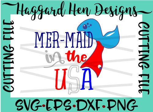 Mermaid in the USA SVG