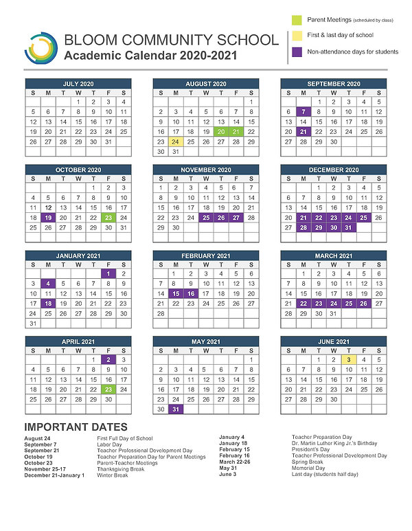 BLOOM COMMUNITY SCHOOL Academic Calendar