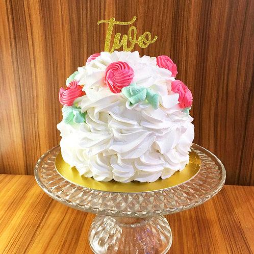「two」ゴールドの紙製ケーキトッパー