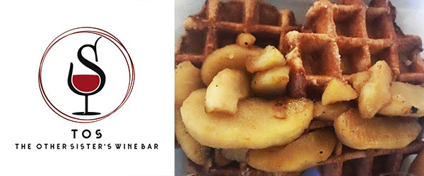 the other sisters wine bar logo and waffles with apples