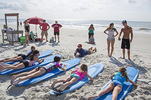 kids getting surfing lessons