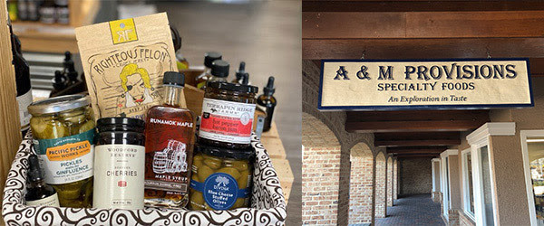 food gift basket and A&M provisions exterior sign