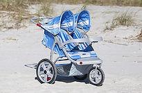 blue double jogging stroller