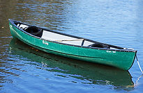 green two person canoe