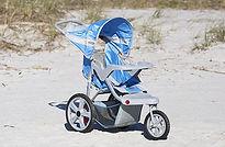blue single jogging stroller