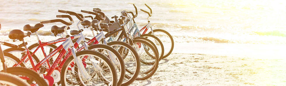 line of bikes on beach