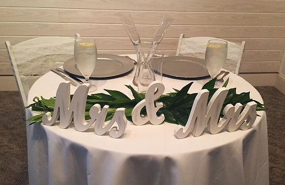 Mrs. and Mrs. table setting