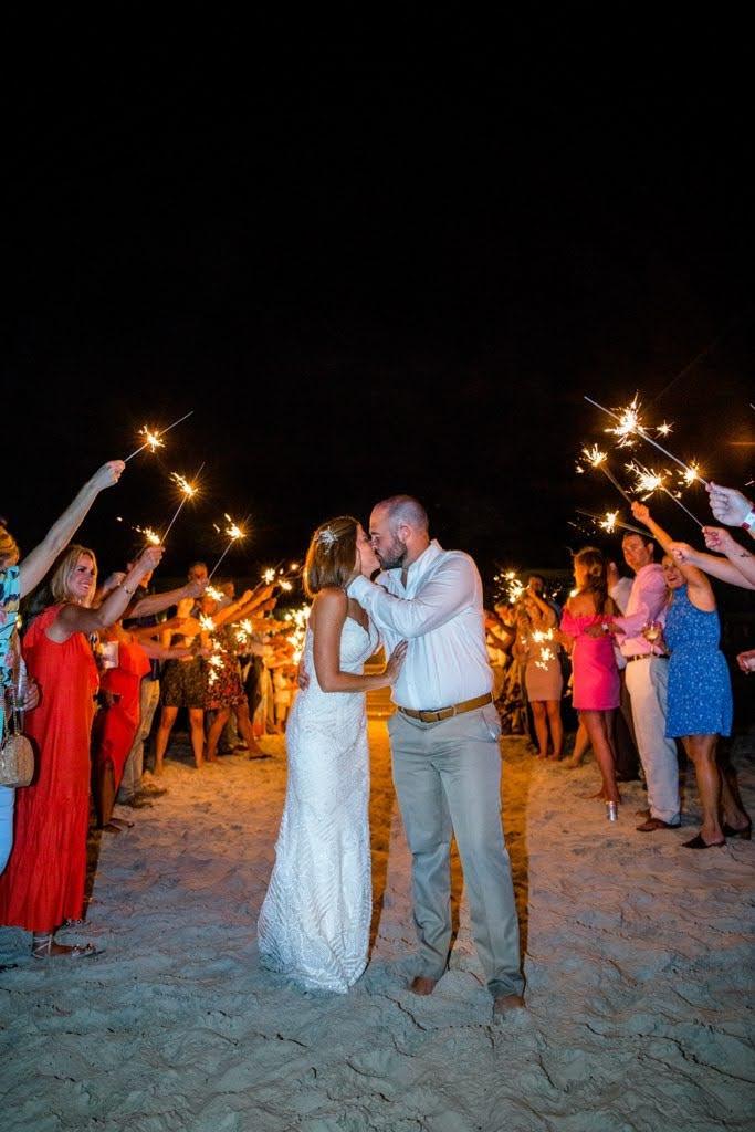 bride and groom kissing under sparkler sendoff