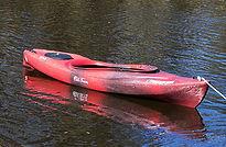red single person kayak